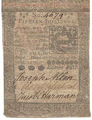 1773 PA Colonial Currency; Baltimore Savings, Chambersburg Savings Fund