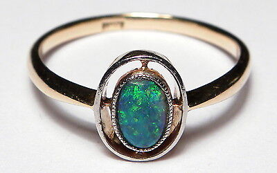 Antique Art Deco 18ct Gold Natural Black Opal Solitaire Ring