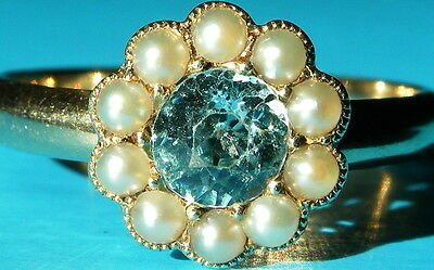 Antique Art Deco 18ct Gold Blue Zircon & Pearl Daisy Ring