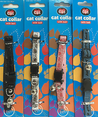 New DESIGN Cat Kitten Pet Reflective Print Safety Clip Collar With Bell