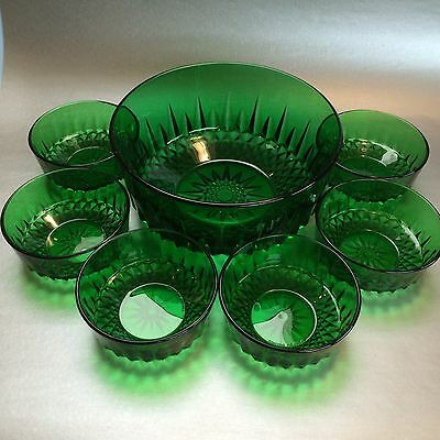 7 Vintage Arcoroc Emerald Green Diamond Starburst Serving Bowls And Dishes