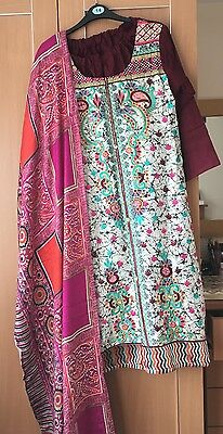 Ladies Warm Marina 3 Pc Shalwar Salwar Kameez Suit Shawl Size 12/14 M