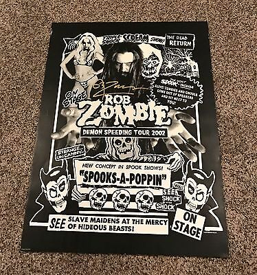 "Rob Zombie SIGNED 2002 Demon Speeding Tour Concert Poster 24""x18"" Nice!"