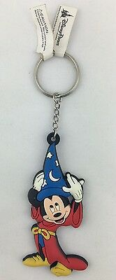 """Disney Parks """"Scorcerer Mickey Mouse"""" Dangling Rubber  Keychain Key Ring NEW"""