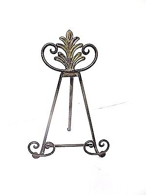"""Wrought Iron Easel Collection Plate Display Stand Patina Finish 12"""""""