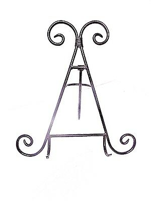"""Wrought Iron Easel Collection Plate Display Stand Black Finish 12"""""""