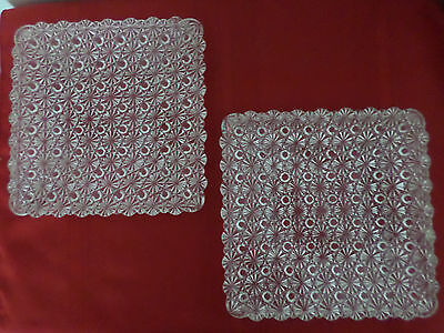 """Two Vintage Clear Cut Glass Scalloped Edge Square Dish Plates 7"""" Flowers Dots"""