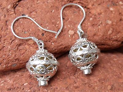 Harmony/chime Ball Balinese Silver Pink Cz Earrings Handcrafted Jewellery