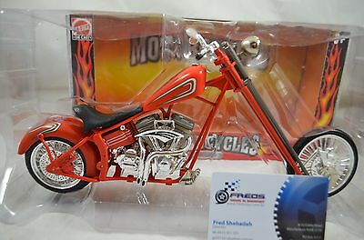 1:9 scale CUSTOM CHOPPER MOTORCYCLE Diecast model bike in ORANGE