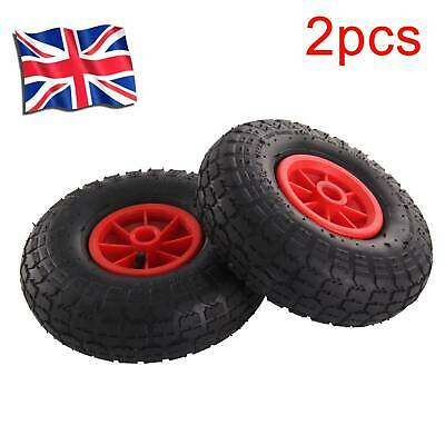 "2 x 10"" pneumatic wheels 20mm centre hub for trolley barrow cart heavy duty"