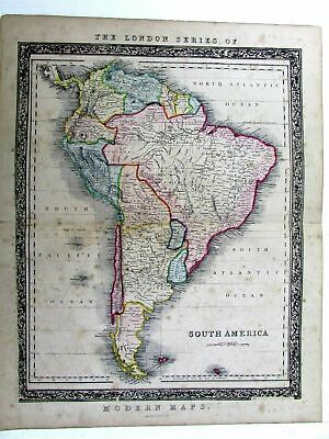 South America continent rare c1850 Betts decorative large hand color antique map