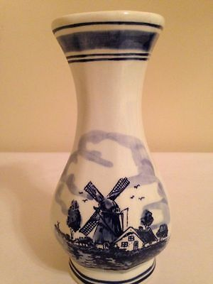 Vintage Early Dutch Delft Blue And White Vase
