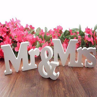 Mr&Mrs Wedding Party Reception Sign Table Decoration Solid Wodden Letter Decor
