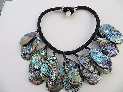 VINTAGE Artisan Abalone Shell Large Chunky Necklace RARE!