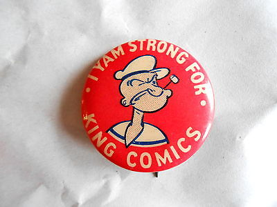 """Vintage Popeye """" I Yam Strong For King Comics"""" Advertising Pinback Button"""