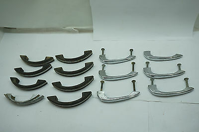 VINTAGE DOOR PULLS HARDWARE HANDLE LOT 14 PC CHROME BLACK MIXED LOT 1950s