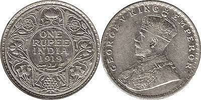India British One Rupee 91.7% Silver coin 1919 - George V