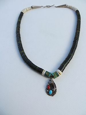 Native American TURQUOISE/SHELL Graduated  Heishi Necklace sterling w/Pendant