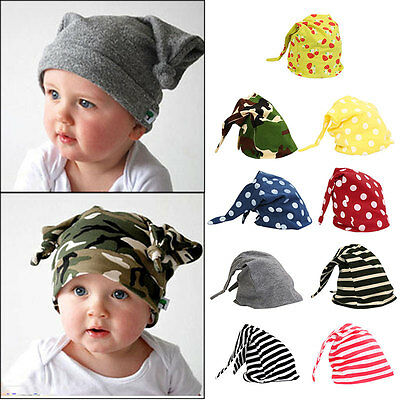 Cute Baby Newborn Toddler Infant Boy Girl Cotton Knot Sleep Beanie Hat Horn Cap