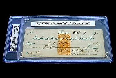 Autograph 1872 Cyrus Hall McCormick PSA/DNA Check Signed Dated October 7 DS 15