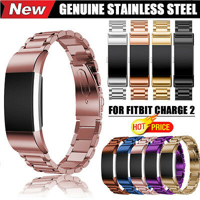 3 Pointers Luxury Stainless Steel Watch Band Wrist Strap For Fitbit Charge 2 NEW