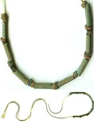 600BC Ancient Egyptian Turquoise Faience Proto Ceramic Proto-Glass Bead Necklace