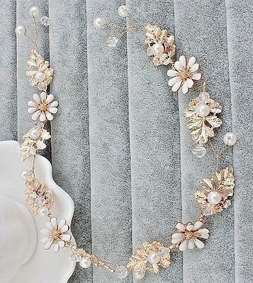 Designer Bridal Rose Gold Hair Jewelry With Pearls Wedding Accessory