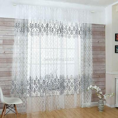 Sweet Floral Tulle Voile Home Door Window Curtains Drape Sheer Scarf Valances