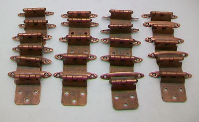 Lot/20 Vintage  Burnished Copper Finish Flush Mount Hinges.