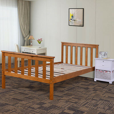 Double Bed In White Finish Solid Wood Beds Wooden Frame 4'6'' Sleep Modern Style