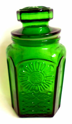 "Wheaton SunFlower Emerald Green Vintage Glass Bottle Canister Container 10""  EVC"