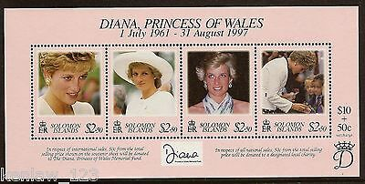 Solomon Islands 1998 Diana Commemoration. Miniature Sheet MNH