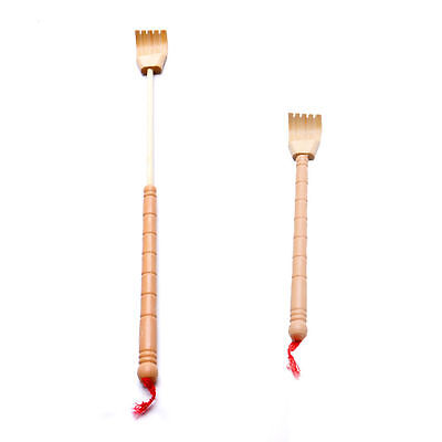 Telescopic Back Scratcher Bamboo Wooden Self Massager Extendable Body Itching