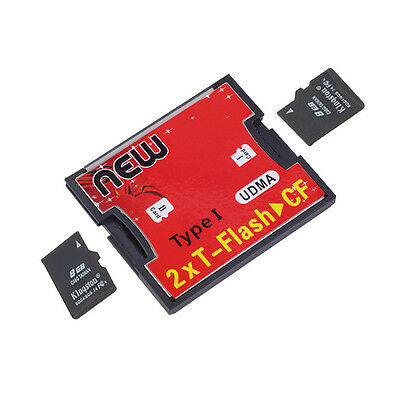 2 Ports TF For SDHC to Type I 1 Compact Flash Card CF Reader Adapter WL