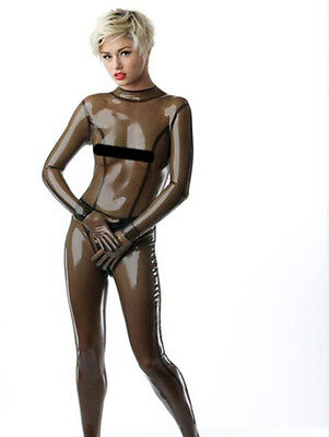 Radical Rubber Latex Meterware - T40 Transparent Rauchig Schwarz Catsuit,Legging