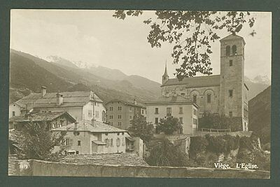 J Switzerland postcard D28 unused pre 1920 Viege Church
