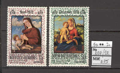 JAM C89 New Hebrides 1970 MNH 2v Christmas Virgin Child