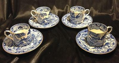 C1850~19thc Bodley~x 4 piece set~Cups & Saucers~Old~Blue Willow~Chinoiserie~Rare