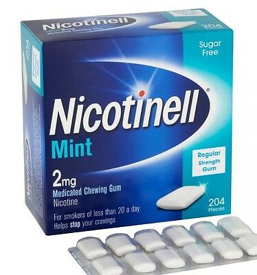 3 x Nicotinell Mint Medicated Chewing Gum 204 Pieces 2mg