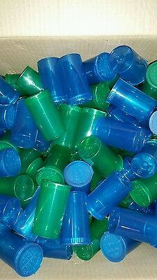 UK listing - 19 dram pop top squeeze top vial/bottle - red/yellow/green/blue