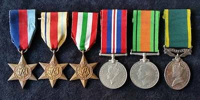 WW2 British R.E. Group of 6, Stars, Defence War & Territorial Medal