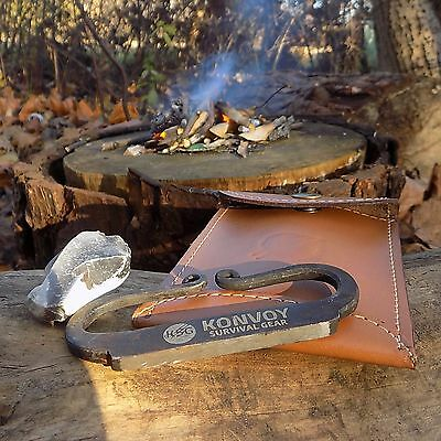 Hand Forged Carbon Steel Fire Striker With Charcloth English Flint & Steel Kit