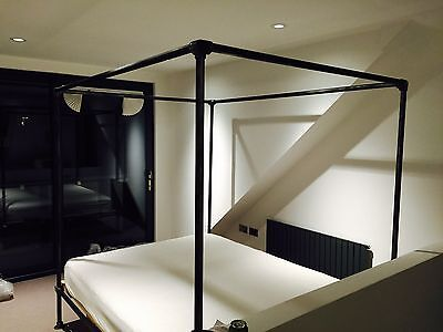 Vintage Industrial Scaffold Style four Poster Bed