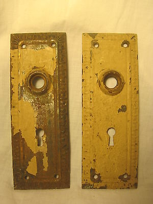 2 x antique back door plate skeleton key type metal plates pair ornate vintage