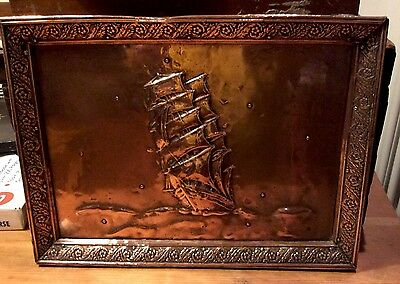 Arts and crafts copper plaque depicting a ship - stunning