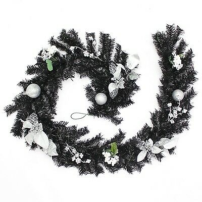 WeRChristmas Decorated Garland Christmas Decoration 6 ft - Black/Silver