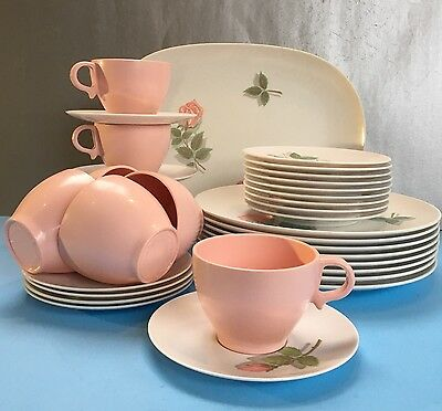 35 Pieces Retro Vintage Pink Floral Melmac Dishes Melamine Pink Plate Cup Saucer