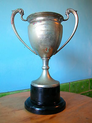 Large Vintage Silver Plate Trophy Goblet Cup and Base Stand. Sports Shop Display