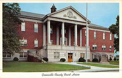 Greenville South Carolina Court House Street View Vintage Postcard K45060