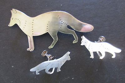 3 Pc FOX FOXES Sterling Silver Pin and  Screw Back Earring Set Maine Made